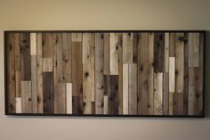 Wood Wall Art The piece shown is 30 x 60 with a black trim board. The boards are finished with different colors and planed to different thicknesses to add contrast and texture. Please contact me for custom sizes for your home. Thanks
