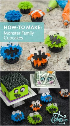 Click here for a step-by-step tutorial on these cute little monster cupcakes for Halloween. #halloweencupcakes