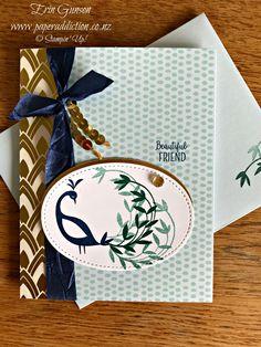 Stampin Up Beautiful Peacock and Tutti Frutti Card Base.  Sale-a-bration 2018. Erin Gunson www.paperaddiction.co.nz