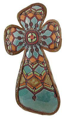 Sophia's Cross: Laurie Pollpeter Eskenazi: Ceramic Wall Art - Artful Home Hand Built Pottery, Slab Pottery, Pottery Art, Pottery Ideas, Pottery Designs, Pottery Studio, Clay Cross, Cross Art, Mosaic Crosses