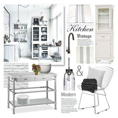 White Kitchen by barngirl on Polyvore featuring interior, interiors, interior design, home, home decor, interior decorating, Zuo, Pottery Barn, Dot & Bo and Libeco Home