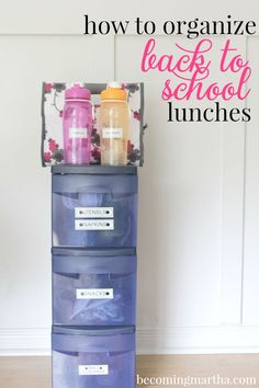 Get organized for back to school lunches with this easy system using a three drawer organizer and a labelmaker.  This will make school mornings so easy!