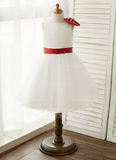 [AU$76.00] A-Line/Princess Knee-length Flower Girl Dress - Satin/Tulle/Sequined Sleeveless With Sash/Sequins/Bow(s)