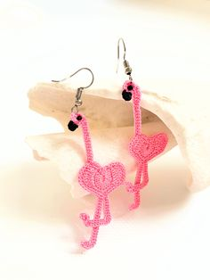 Very cute pink flamingo earrings to add Florida vibes to your outlook! These animal earrings are delicately crocheted and measure in length. Despite the length they are lightweight! They can make a perfect gift option for flamingo lovers. Crochet Earrings Pattern, Crochet Motif Patterns, Crochet Buttons, Crochet Art, Crochet Flowers, Hand Crochet, Animal Earrings, Animal Jewelry, Lace Earrings