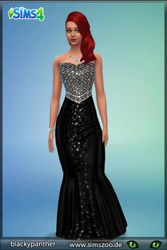 Black Glitter dress by blackypanther at Blacky's Sims Zoo via Sims 4 Updates