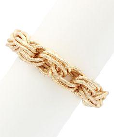 Love this Gold Textured Stack Link Bracelet by Sparkling Sage on #zulily! #zulilyfinds