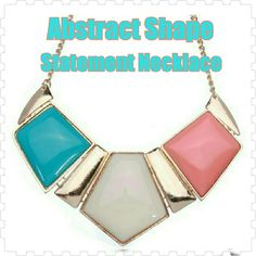 🎀💎HP💎⏪Multi-Color Abstrast Shapes Necklace⏫ Different Special statement necklace with multi color geometric shapes. The colors are Teal, Cream & Orange with gold connections and chain!   Material: Alloy, Acrylic Feature: Adjustable Pendant Size: App 13.5cm x 8cm Total Length: App 49cm Chain Extension Length: App 6cm Weight: About 68g Jewelry Necklaces
