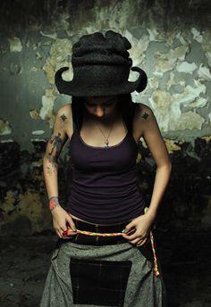 Unique handmade felt hats, Black madness