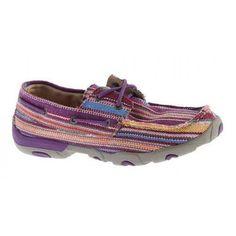 Twisted X Ladies' Driving Mocs Purple Canvas Shoe