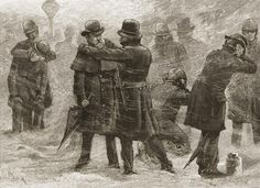 New York City Blizzard of 1888 New York, policemen rubbing snow on frozen ears during a snowstorm, March 1888. (Getty Images)