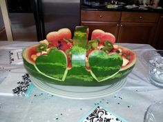 Carved Watermelon for Bridal Shower