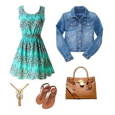 Wear this turquoise sundress with a cute denim jacket, brown & gold summer sandals, a gold tassel necklace, and a light brown leather purse!