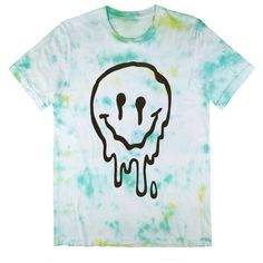 Sick Melted sMiLeY fAcE Tie Dye T-Shirt UNISEX sizes S, M, L, XL ($36) ❤ liked on Polyvore featuring tops, t-shirts, blue tee, blue t shirt, tie die t shirt, tie dye tee and unisex tees