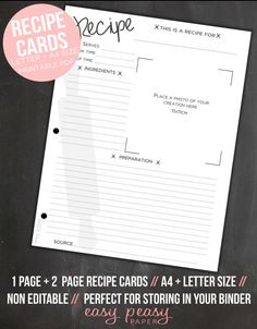 Recipe Cards // Printable Recipe Cards // A4 + Letter (8.5x11) Size  Create your very own printable cookbook filled with personal recipes and