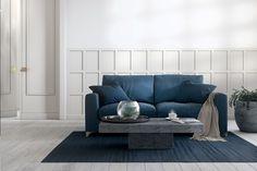 Panel Herrgård är en stilren panel som kan användas som traditionell bröstpanel men även för fondväggar, sänggavlar osv. Färdigmålad, med dolda skarvar. Finns i vit och grå. Interiörpanel, väggpanel, helpanel Vit, Love Seat, Couch, Inspiration, Furniture, Home Decor, Traditional, Biblical Inspiration, Settee