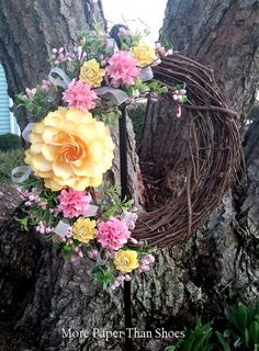 Handmade Paper Flower Wreath  Spring  Yellow by morepaperthanshoes
