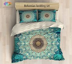 Boho chic is the new modern. So if you want to be on top of the wave and create this bohemian look you may consider decorating your bedroom with one of my creations. This design is inspired by nature and repeated patterns we see all around us. This beautiful blue and green flower mandala is combined with beautiful Indie design elements on a stunning blue and green rustic grunge texture background for creating a vintage look. 3-piece DUVET COVER SETIncludes: 1 duvet cover / NO duvet insert…