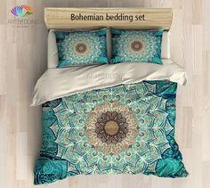 Mandala bedding, Bohemian duvet cover set, Flower mandala for balance and harmony boho bedroom decor, Bohochic home interior