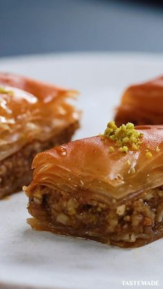 Best-Ever Baklava - Fruit-Based Desserts - Making baklava at home doesn& have to be complicated. Turkish Recipes, Greek Recipes, Indian Food Recipes, Persian Recipes, Bar Recipes, Donut Recipes, Greek Desserts, Puff Pastry Desserts, Greek Sweets