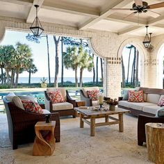 Poolside Porch - Mediterranean-Style Houses with Ocean Views - Coastal Living