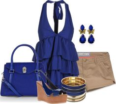 """""""Royal Blue Ruffles"""" by lilpudget ❤ liked on Polyvore"""