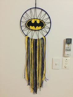 Dreamcatcher created for my Batman loving son - by Tamara Casey Crafts To Sell, Kids Crafts, Diy And Crafts, Arts And Crafts, Batman Crafts, Batman Room, Dream Catcher Craft, Macrame Art, Idee Diy
