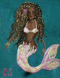 Mermaid CSchenkART Mermaid Original Acrylic Painting Art by Carrie Schenk Siren Mermaid, Mermaid Cove, Mermaid Kisses, Mermaid Beach, Black Mermaid, Mermaid Art, Fantasy Mermaids, Mermaids And Mermen, Mermaid Quilt