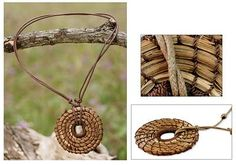 Artisan Made Jewelry Natural Fiber Pendant Necklace, 'Our Home'