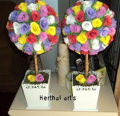Herthal art's: Topiaria de botões de rosa de e.v.a Herthal art's