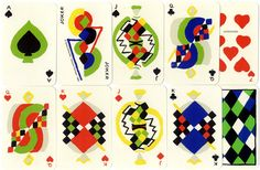 """Simultané playing cards, 1964. Sonia Delaunay """"united the rigour of simple geometric forms with an inner life and poetry which emanated from the richness of colour, the musicality of rhythm, the vibrant breath of the execution. She brought order and lyricism together: colour, geometry and rhythm."""" Caption from link"""