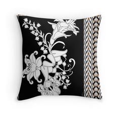 Palace Garden Throw Pillow by PolkaDotStudio #black #white #contemporary #modern #deco #nouveau #flower #garden with #stripe #border #art on throw #pillows for #home #accessory in #living room #bedroom #apartment or #gift