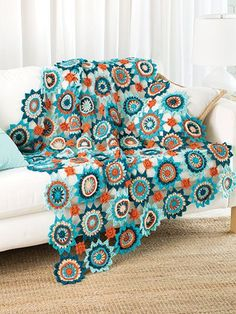 Crochet Afghan Downloads - Design is made using five colors of worsted-weight yarn and a size H/8/5mm crochet hook. A great way to use up that scrap yarn. Finishes size: 48'W x 54'L.