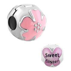 Pugster® Purple Butterfly Sweet Big Sister Charm Bracelet Clip Lock Stopper A52