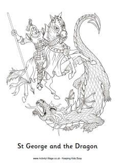Celebrate St George's Day with some patriotic colouring pages - and of course a colouring page of St George slaying the dragon! St George S Day, Patron Saint Of England, Dragon Coloring Page, Fairy Coloring, Saint George And The Dragon, Saint Georges, Dragon Knight, All Saints Day, Saint Michel