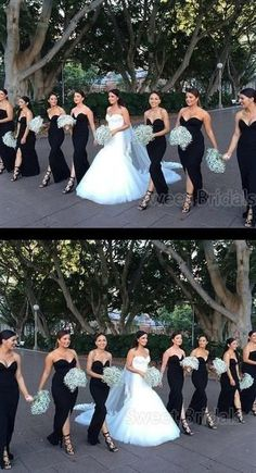 Mismatched Black Sweet Heart Front Split Floor Length Bridesmaid Dresses , Mismatched Black S Black Bridesmaids, Mismatched Bridesmaid Dresses, Wedding Bridesmaid Dresses, Bridesmaid Jumpsuits, Wedding Picture Poses, Wedding Poses, Wedding Venues, Wedding Ideas, Wedding Speeches