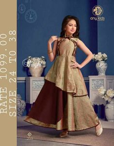 cherry fashion any kids readymade garments in surat children readymade collection wholesale - Krishna Creation New Kurti, Party Wear Kurtis, Kids Gown, Lehenga Blouse, Frock Design, Embroidery Saree, Designer Salwar Suits, Work Sarees, Fancy Sarees