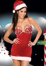 Sexy amp hot lady women christmas red santa claus velvet costume outfit