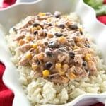 Slow Cooker Fiesta Chicken - an easy meal with chicken, cream cheese, black beans, and corn. the-girl-who-ate-everything.com
