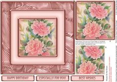Pink Peonies Square Frame Pyramage on Craftsuprint designed by Sandie Burchell - Beautiful 7 inch square approx. Square Frame Pyramage. Sentiments include: Happy Birthday, Especially For You and Best Wishes. This design also has a matching insert sheet available - please see related sheets. To see other designs in this series please click on my name and enter square frame pyramage into my search box. Please take a look at my other designs by clicking on my name. - Now available for download!