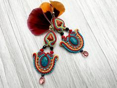 Boho earrings with gems. Soutache earrings with turquoise, coral, Swarovski crystals. Bohemian, spiritual jewelry. Summer colorful earrings.