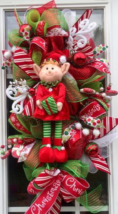 Elf Mesh Wreath Christmas Deco Mesh Wreath by ShellysChicDesigns