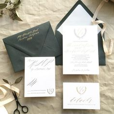 Romantic Calligraphy Letterpress Customizable Wedding Invitation Suite honey-paper.com #elegant #gold #black #santaynezwedding #santabarbarawedding