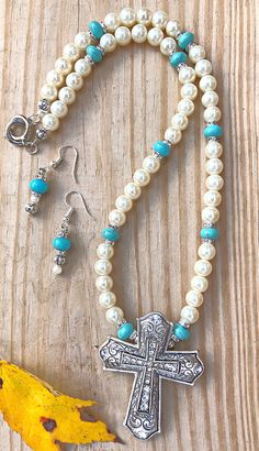 HAVE FAITH NECKLACE SET Handmade Rhinestone Antique Silver Etched Cross Pendant Pearl Rhinestone Turquoise Beaded Necklace Dangle Earrings Set