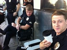 """""""Southland"""".... What the hell is that face, Michael?! LOL  My answer, lol maybe cooper isnt happy with his boot's choice of coffee maybe???"""