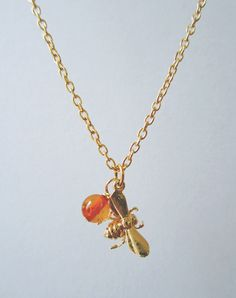 Bumbling Along Bee and Amber Necklace — Eclectic Eccentricity Vintage Jewellery