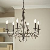 This isn't black and isn't that big, but it is very pretty and would probably work!  Found it at Birch Lane - Donatella Chandelier