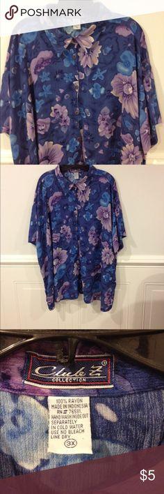 Club Z 3X blouse good condition Size 3X Club Z collection blouse good condition Club Z Tops Blouses
