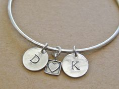 Handcrafted Sterling Silver Bangle with 2 Initial Charms by tsojewelry, $68.00