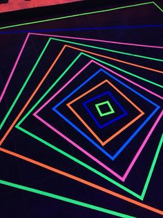 Blacklight Glow Party Dance Floor Made With Neon Duct Tape