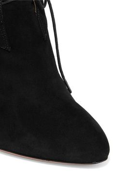 Alaïa - Studded Lace-up Suede Ankle Boots - Black